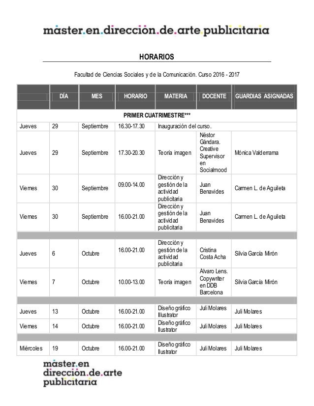 HORARIOS Facultad de Ciencias Sociales y de la Comunicación. Curso 2016 - 2017 DÍA MES HORARIO MATERIA DOCENTE GUARDIAS AS...