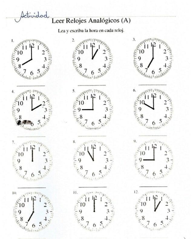 '  Leer Relojes# Analógicos (A)  Lea _v escriba Ia hora en catia zelcaj.   . -'- _ ›: '-.  .. .df |  '|7-  ! J  e  / l/_íx...