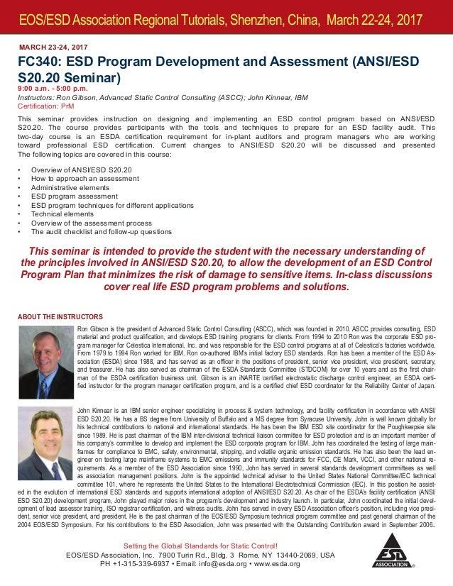 EOS/ESD Association, Inc  Regional Tutorials in Shenzhen, China