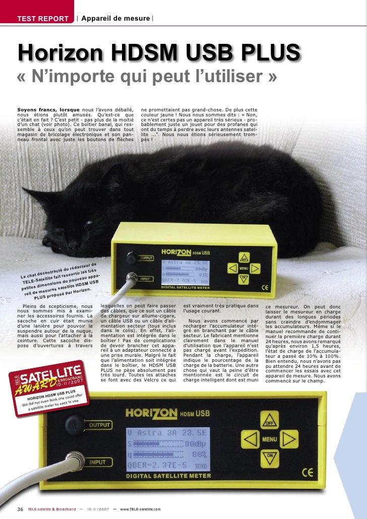 TEST REPORT                                Appareil de mesure     Horizon HDSM USB PLUS « N'importe qui peut l'utiliser » ...