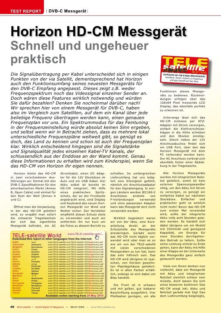 TEST REPORT                    DVB-C Messgerät     Horizon HD-CM Messgerät Schnell und ungeheuer praktisch                ...