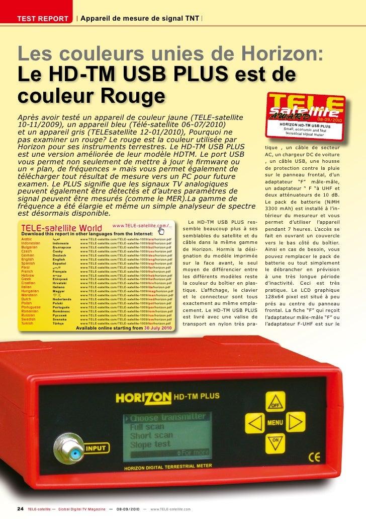 TEST REPORT                     Appareil de mesure de signal TNT     Les couleurs unies de Horizon: Le HD-TM USB PLUS est ...