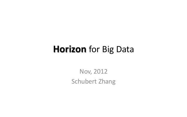 Horizon for Big Data Nov, 2012 Schubert Zhang