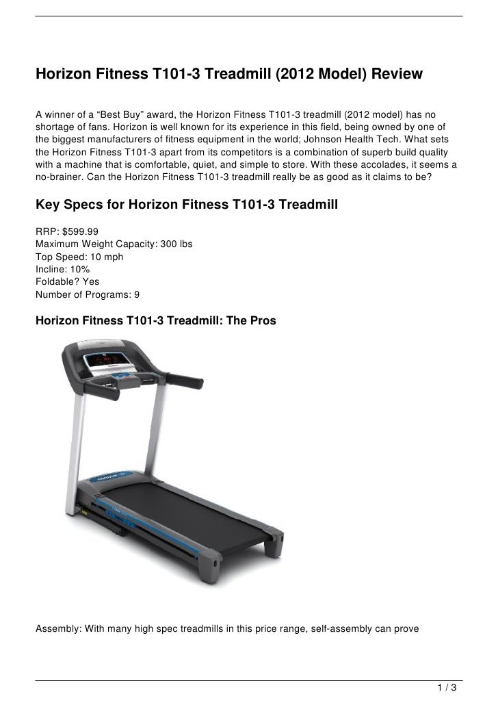 horizon fitness t101 3 treadmill 2012 model review rh slideshare net horizon fitness t101-04 treadmill manual horizon fitness t101-04 treadmill manual