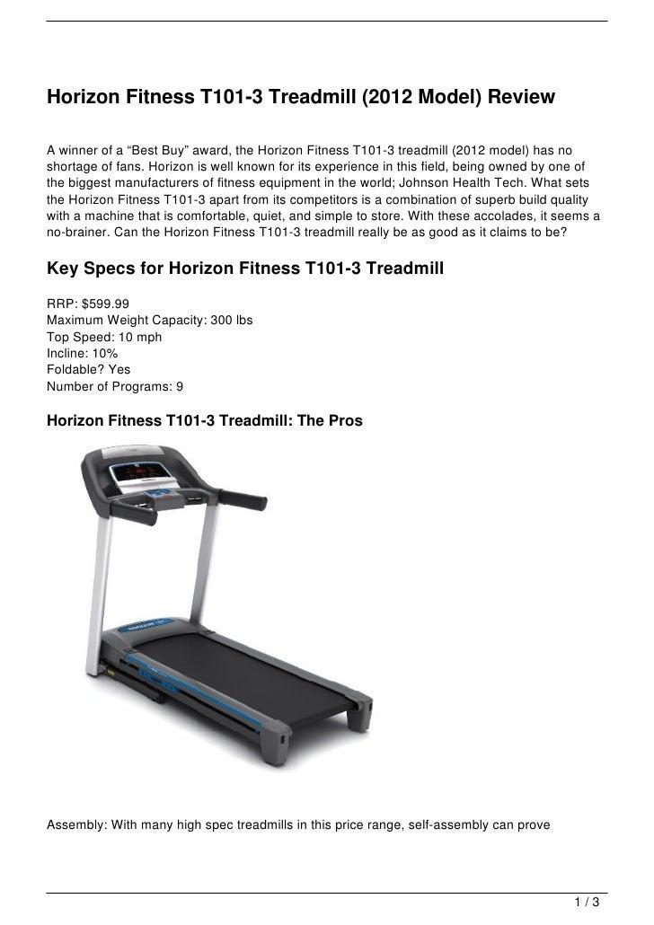 horizon fitness t101 3 treadmill 2012 model review rh slideshare net Horizon Quantum Treadmill Horizon Quantum Treadmill