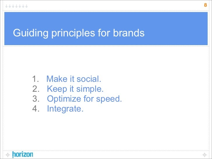 8     Guiding principles for brands        1.   Make it social.     2.   Keep it simple.     3.   Optimize for speed.     ...