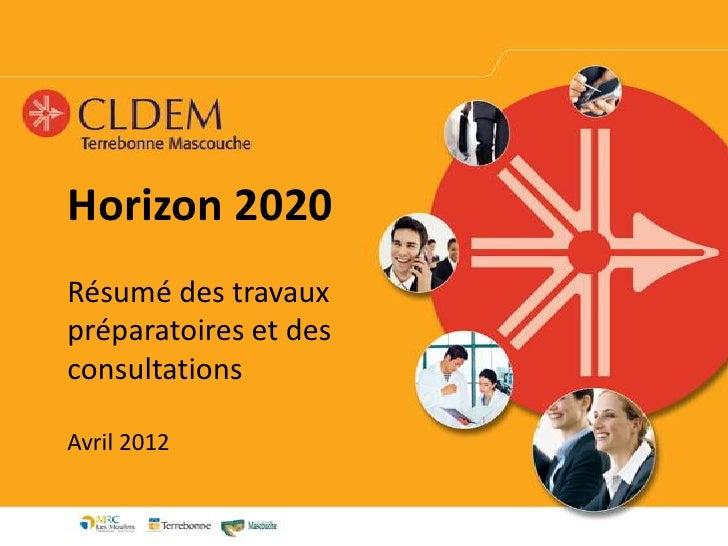 Horizon 2020Résumé des travauxpréparatoires et desconsultationsAvril 2012
