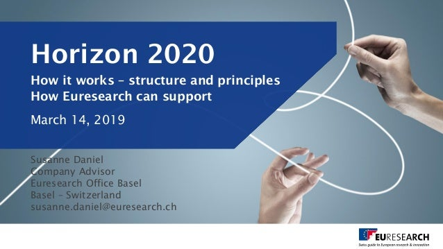 Horizon 2020 How it works – structure and principles How Euresearch can support March 14, 2019 Susanne Daniel Company Advi...