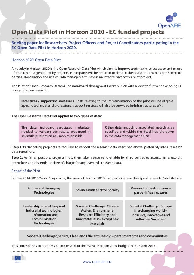 Open Data Pilot in Horizon 2020 - EC funded projects Briefing paper for Researchers, Project Officers and Project Coordina...
