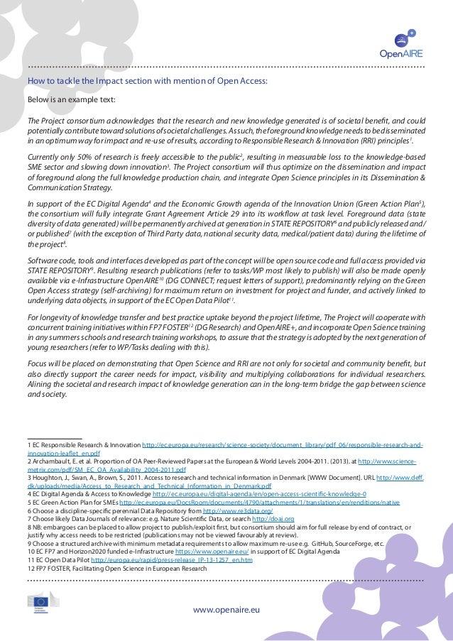 OpenAIRE factsheet: Open Access in Horizon 2020 (for Research Administrators) Slide 3