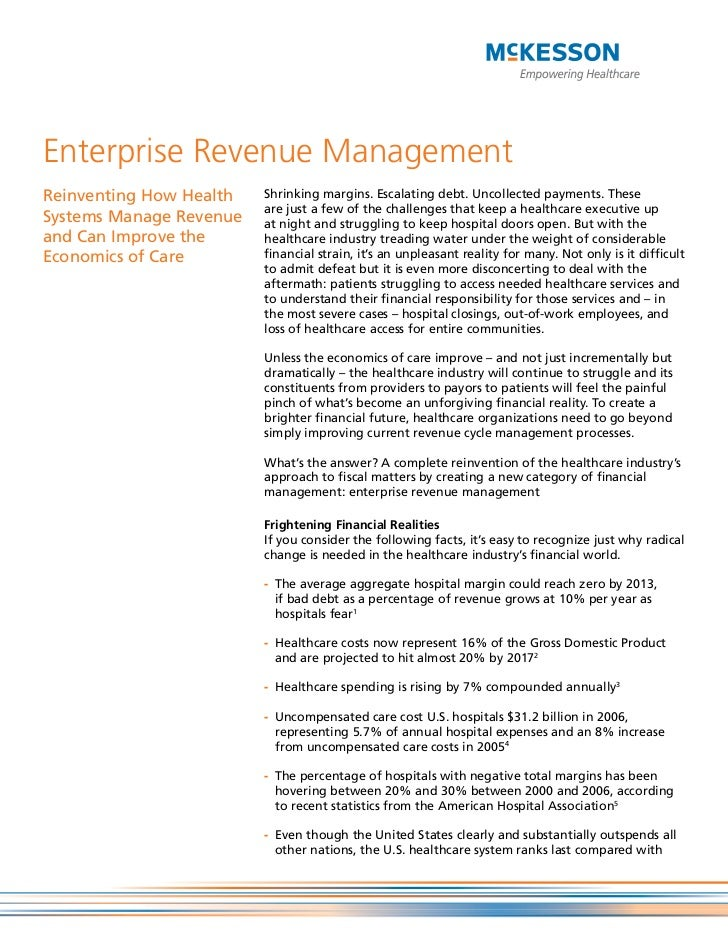 Enterprise Revenue ManagementReinventing How Health   Shrinking margins. Escalating debt. Uncollected payments. These     ...