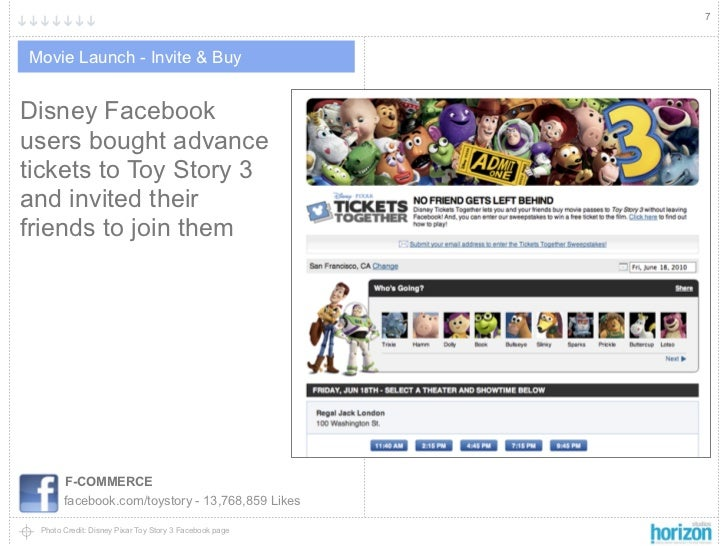 7Movie Launch - Invite & BuyDisney Facebookusers bought advancetickets to Toy Story 3and invited theirfriends to join them...