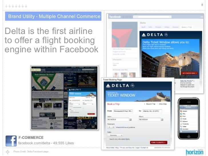 8 Brand Utility - Multiple Channel CommerceDelta is the first airlineto offer a flight bookingengine within Facebook      ...