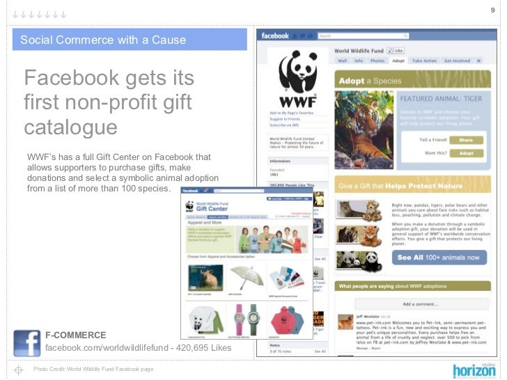 9Social Commerce with a CauseFacebook gets itsfirst non-profit giftcatalogue WWF's has a full Gift Center on Facebook that...