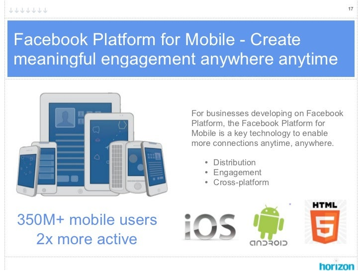 17Facebook Platform for Mobile - Createmeaningful engagement anywhere anytime                     For businesses developin...