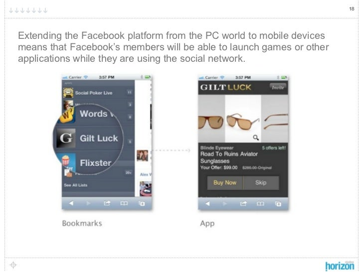 18Extending the Facebook platform from the PC world to mobile devicesmeans that Facebook's members will be able to launch ...