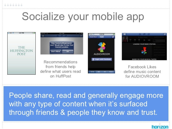Socialize your mobile app           Recommendations            from friends help        Facebook Likes         define what...