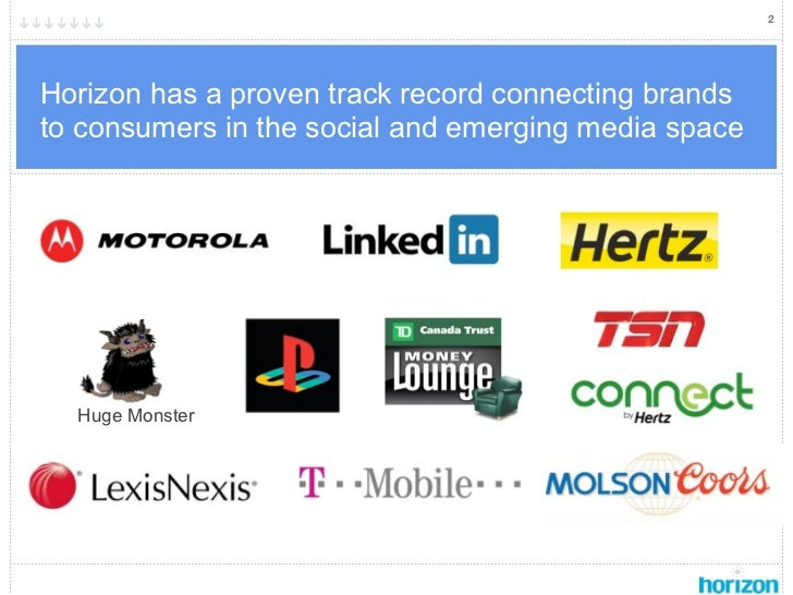 2Horizon has a proven track record connecting brandsto consumers in the social and emerging media space  Huge Monster