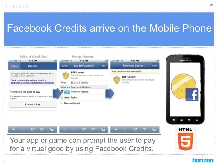 22Facebook Credits arrive on the Mobile PhoneYour app or game can prompt the user to payfor a virtual good by using Facebo...