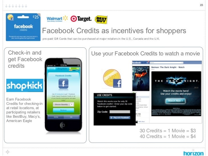 23                      Facebook Credits as incentives for shoppers                      pre-paid Gift Cards that can be p...