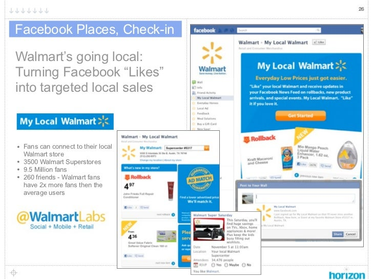 "26Facebook Places, Check-inWalmart's going local:Turning Facebook ""Likes""into targeted local sales• Fans can connect to th..."