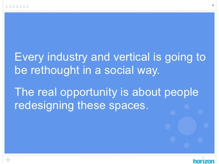 4Every industry and vertical is going tobe rethought in a social way.The real opportunity is about peopleredesigning these...
