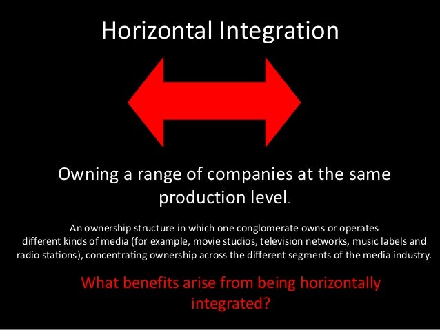 horizontal and vertical intergration Definition and explanation of vertical integration - when a firm controls different stages of production also difference between forward and backward integration.