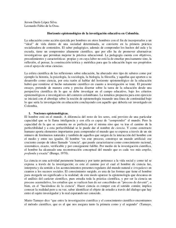 Jerson Darío López Silva.Leonardo Fabio de la Ossa.                  Horizonte epistemológico de la investigación educativ...