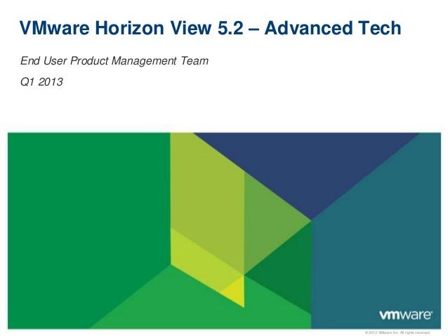 © 2013 VMware Inc. All rights reservedVMware Horizon View 5.2 – Advanced TechEnd User Product Management TeamQ1 2013