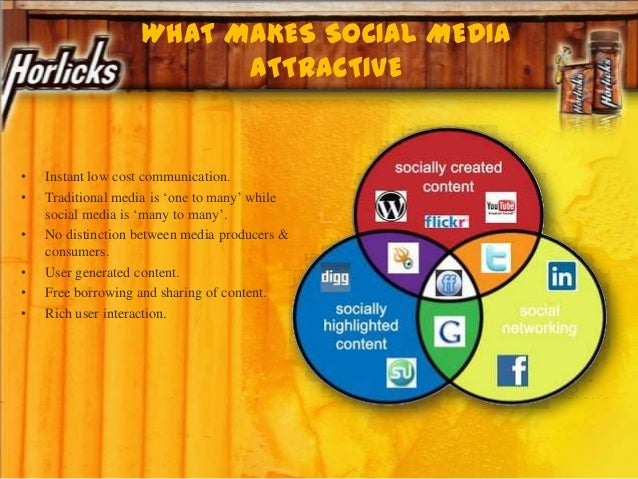 WHAT MAKES SOCIAL MEDIA ATTRACTIVE • Instant low cost communication. • Traditional media is 'one to many' while social med...