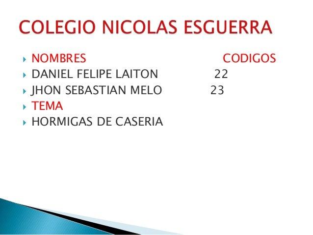  NOMBRES CODIGOS DANIEL FELIPE LAITON 22 JHON SEBASTIAN MELO 23 TEMA HORMIGAS DE CASERIA