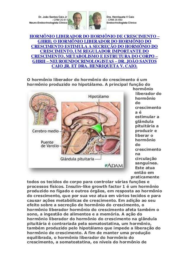 HORMÔNIO LIBERADOR DO HORMÔNIO DE CRESCIMENTO – GHRH; O HORMÔNIO LIBERADOR DO HORMÔNIO DO CRESCIMENTO ESTIMULA A SECREÇÃO ...