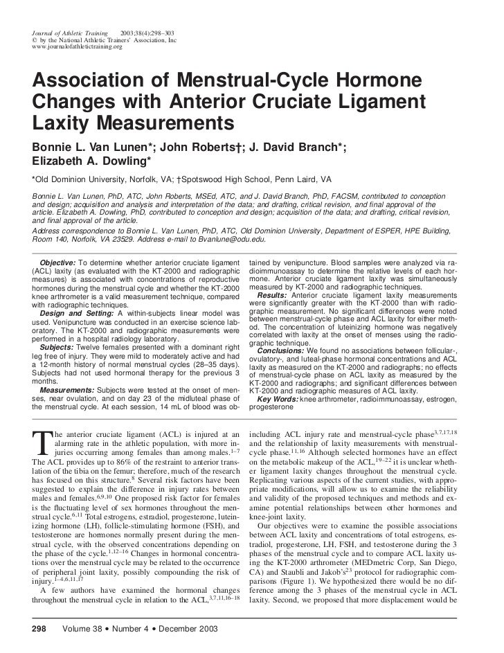 Journal of Athletic Training    2003;38(4):298–303  by the National Athletic Trainers' Association, Incwww.journalofathlet...