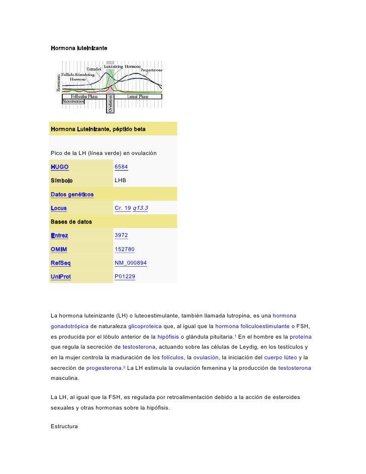 Hormona luteinizanteHormona Luteinizante, péptido betaPico de la LH (línea verde) en ovulaciónHUGO                     658...