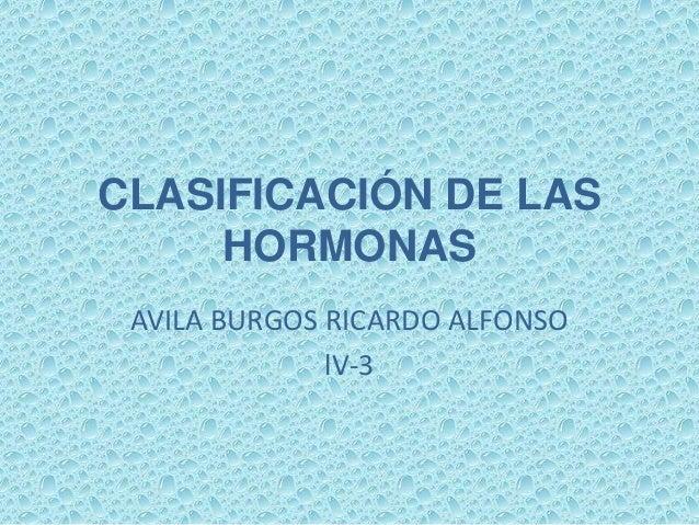 CLASIFICACIÓN DE LAS     HORMONAS AVILA BURGOS RICARDO ALFONSO              lV-3