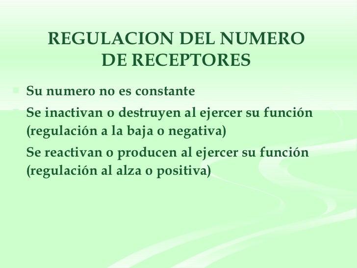 REGULACION DEL NUMERO  DE RECEPTORES  <ul><li>Su numero no es constante </li></ul><ul><li>Se inactivan o destruyen al ejer...