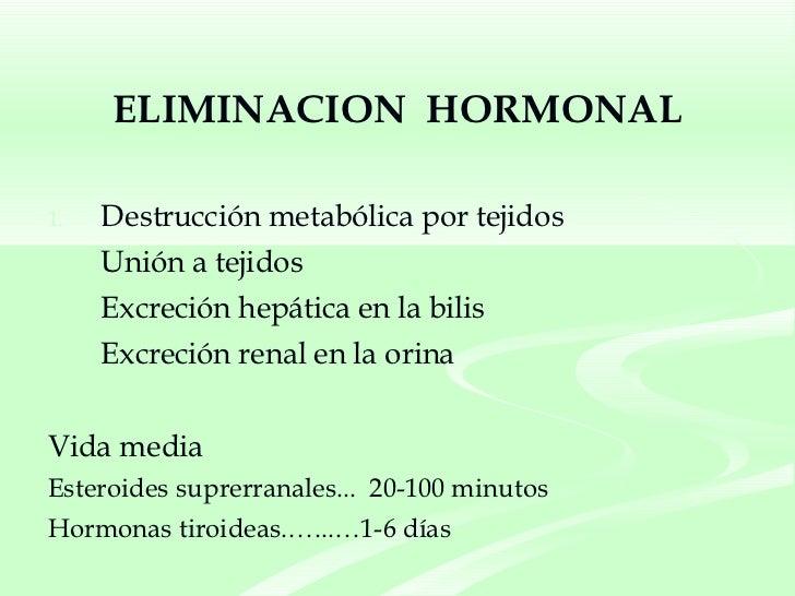 ELIMINACION  HORMONAL <ul><li>Destrucción metabólica por tejidos </li></ul><ul><li>Unión a tejidos </li></ul><ul><li>Excre...