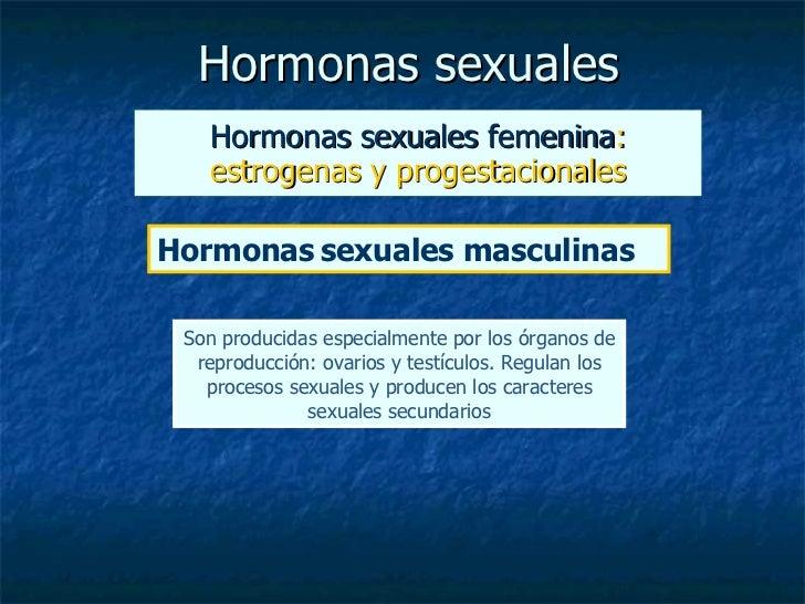 Hormonas sexuales Hormonas sexuales femenina : estrogenas y progestacionales Hormonas   sexuales masculinas Son producidas...
