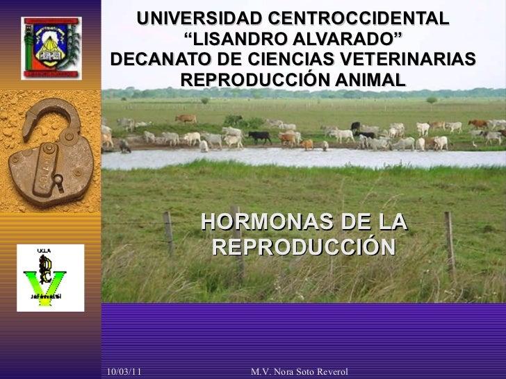 """UNIVERSIDAD CENTROCCIDENTAL """"LISANDRO ALVARADO"""" DECANATO DE CIENCIAS VETERINARIAS REPRODUCCIÓN ANIMAL HORMONAS DE LA REPRO..."""