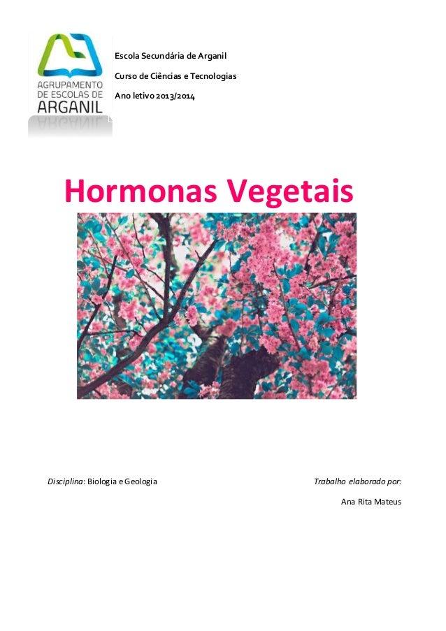 1 Hormonas Vegetais Escola Secundária de Arganil Curso de Ciências e Tecnologias Ano letivo 2013/2014 Disciplina: Biologia...