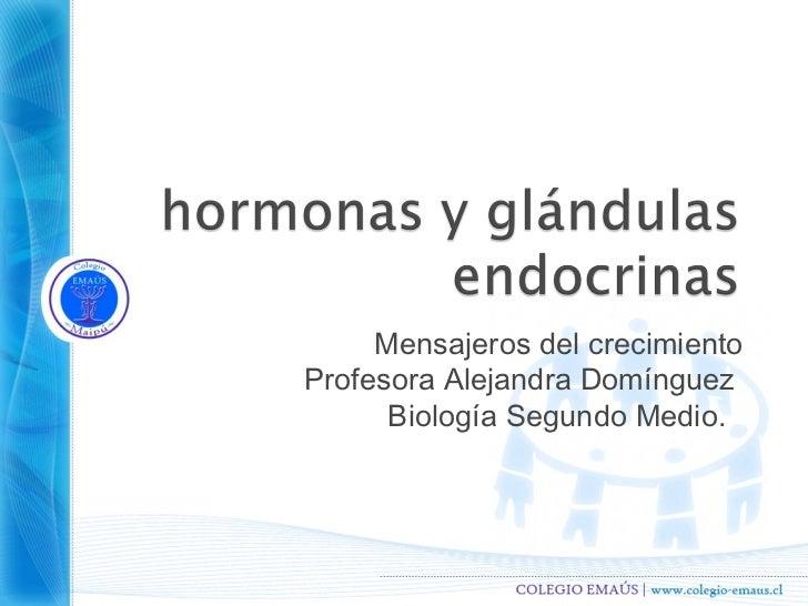 Mensajeros del crecimientoProfesora Alejandra Domínguez      Biología Segundo Medio.