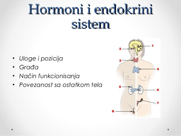 Hormoni i endokriniHormoni i endokrini sistemsistem • Uloge i pozicija • Građa • Način funkcionisanja • Povezanost sa osta...