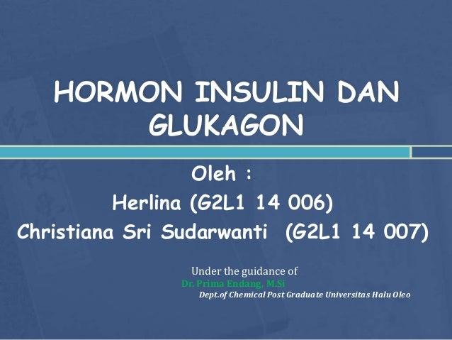 HORMON INSULIN DAN GLUKAGON Oleh : Herlina (G2L1 14 006) Christiana Sri Sudarwanti (G2L1 14 007) Under the guidance of Dr....