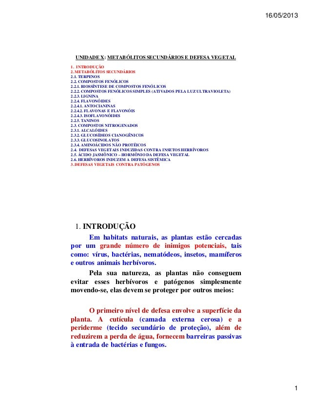 16/05/2013  1  UNIDADE X: METABÓLITOS SECUNDÁRIOS E DEFESA VEGETAL  1. INTRODUÇÃO  2. METABÓLITOS SECUNDÁRIOS  2.1. TERPEN...