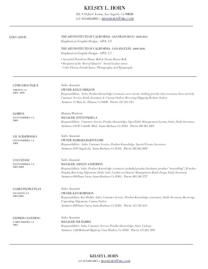 Resume For Clothing Retail Zrom