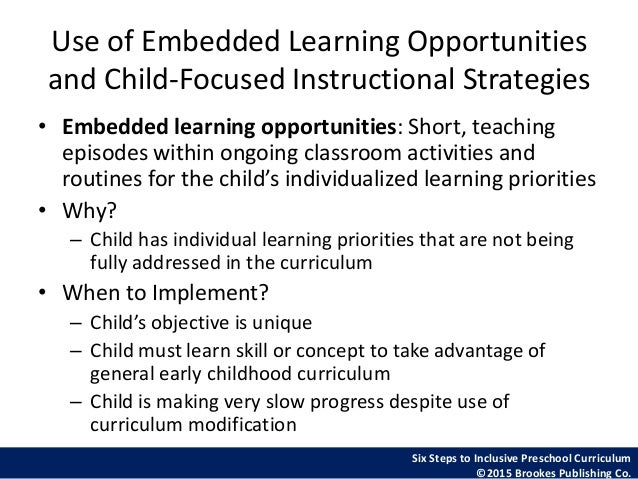 A Focus On The Six Steps To Inclusive Preschool Curriculum