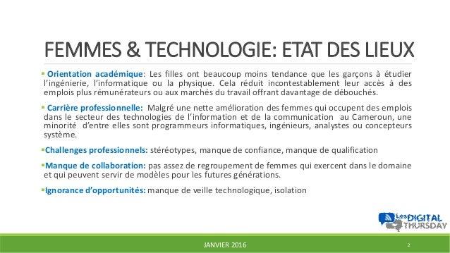 Femmes et technologies, opportunités et plateformes existantes au Cameroun - #DigitalThursday #Edition7 Slide 2