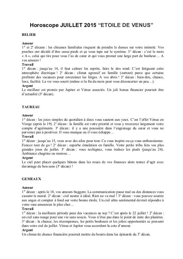 """Horoscope JUILLET 2015 """"ETOILE DE VENUS"""" BELIER Amour 1er et 2e décans : les chicanes familiales risquent de prendre le de..."""
