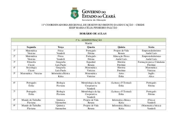 11ª COORDENADORIA REGIONAL DE DESENVOLVIMENTO DA EDUCAÇÃO – CREDE EEEP MARIA CÉLIA PINHEIRO FALCÃO HORÁRIO DE AULAS 1º A -...