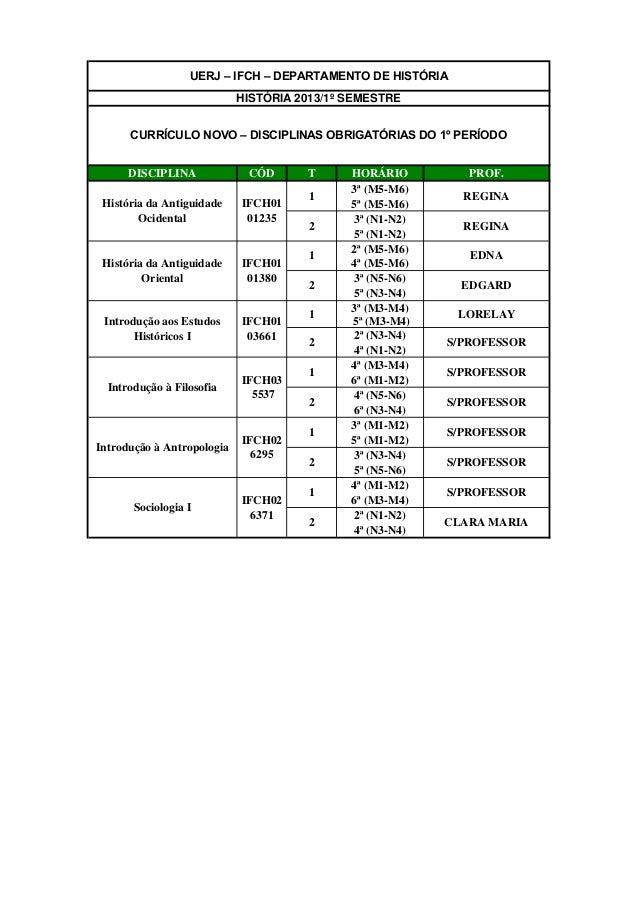 UERJ – IFCH – DEPARTAMENTO DE HISTÓRIA                            HISTÓRIA 2013/1º SEMESTRE      CURRÍCULO NOVO – DISCIPLI...
